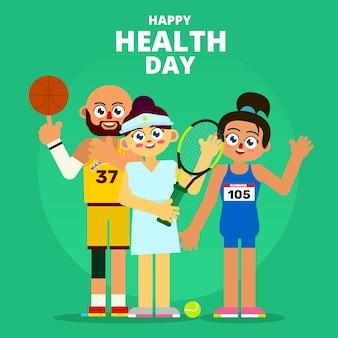 Sportler, der glücklichen gesundheits-tagesillustrations-charakter feiert