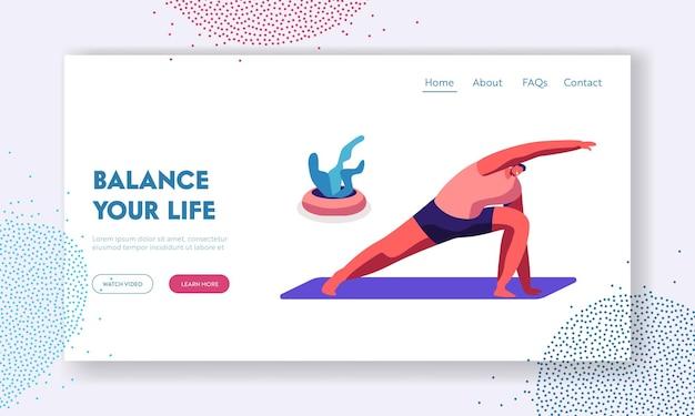 Sportler, der yoga-lektion praktiziert, mann, der longe mit hands-up-übung macht, dreieck asana gesunder lebensstil, sportklasse im fitnessstudio website landing page, webseite. karikatur-flache vektor-illustration