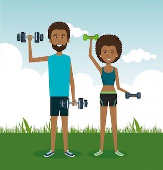 Sportler, die übungscharaktere üben