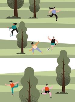 Sportler im park, die sport treiben