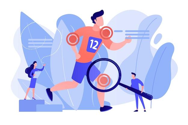 Sportler laufen und winzige ärzte behandeln verletzungen. sportmedizin, sportmedizinische dienstleistungen, konzept des sportarztes. isolierte illustration des rosa korallenblauvektorvektors