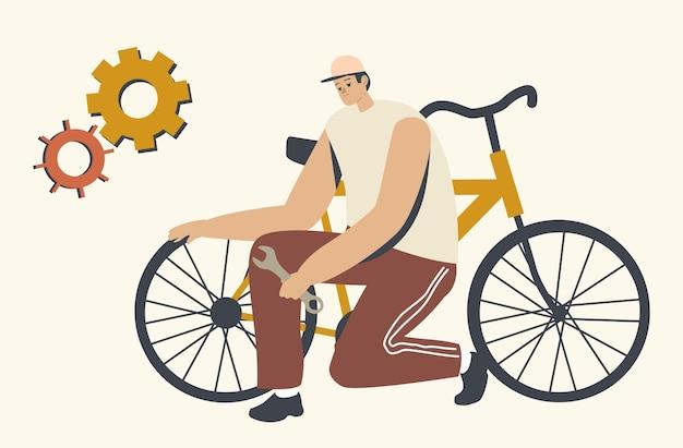 Sportler, mechaniker oder fahrer männlicher charakter steht auf knien in der nähe eines kaputten fahrrads, das reserverad in den händen hält, räder überprüfen und warten, stadtreparaturdienst