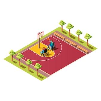 Sportler mit ball, menschen mit behinderungen. isometrische zusammensetzung mit zwei invaliden im rollstuhl, der basketball auf sportfeldillustration auf weißem hintergrund spielt.