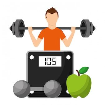 Sportler mit obst und hantel wählen gesunde lebensweise
