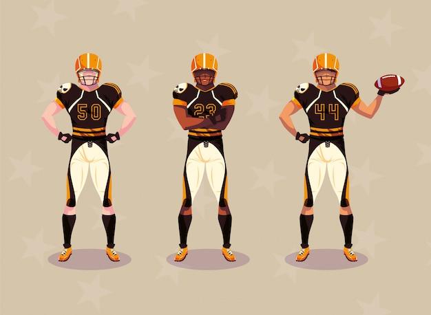 Sportler mit uniform, männer mannschaftsspieler american football