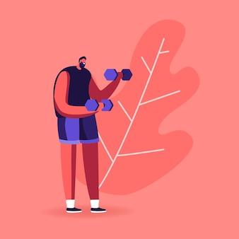 Sportler powerlifter mit hanteln. männlicher charakter im sportbekleidungstraining mit gewicht.