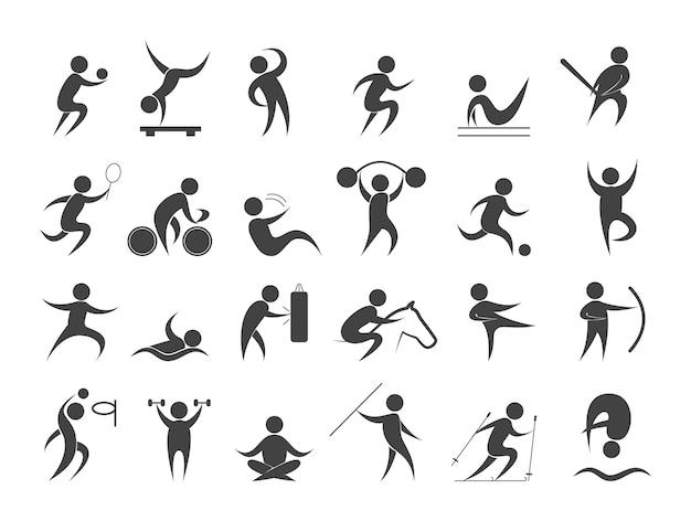 Sportler setzen. sammlung verschiedener sportlicher aktivitäten