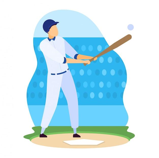 Sportlerillustration, karikaturmannathletenspielercharakter, der baseball auf professionellem stadionfeld auf weiß spielt
