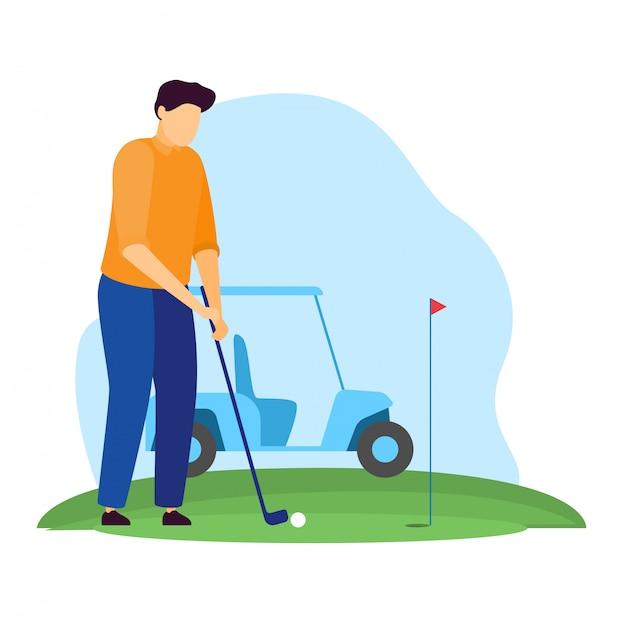 Sportlerillustration, karikaturmanngolfercharakter, der golf auf grünem grasfeld spielt, aufschlagenden ball auf weiß
