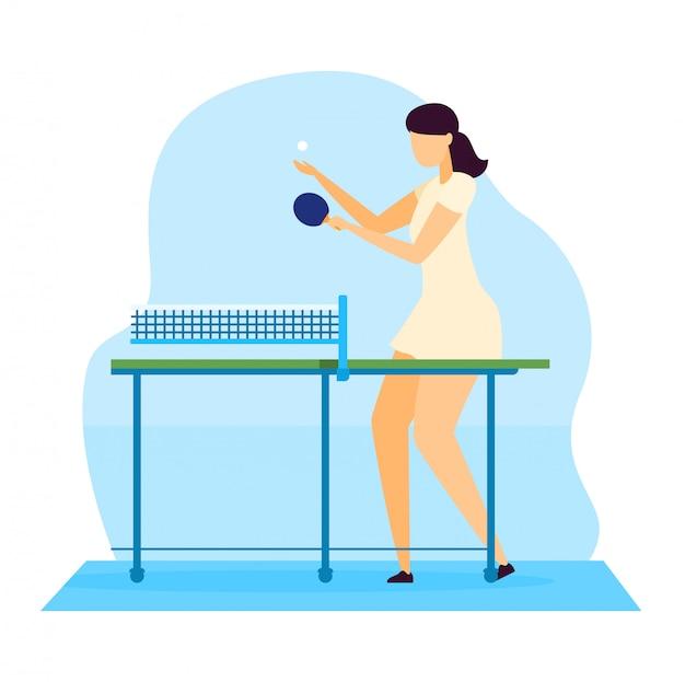 Sportlerillustration, zeichentrickfilmcharakter der jungen frau, die tischtennis-tischtennis mit schläger auf weiß spielt