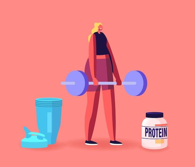 Sportlerin-charakter im fitnessstudio, das muskeln mit langhantel und protein-cocktail im shaker pumpt. sportliche ernährung, gesunde lebensweise