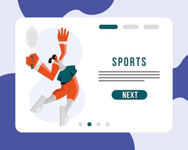 Sportlerin, die tennissportcharakter und beschriftungsillustrationsentwurf ausübt