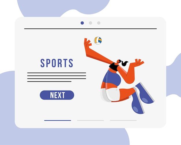 Sportlerin, die volleyball-sportcharakter und beschriftungsillustrationsentwurf übt