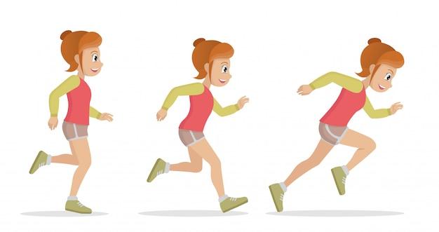 Sportlerin zum laufen bringen.