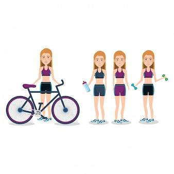 Sportlerinnen mit fahrrad und gewichtheben illustration