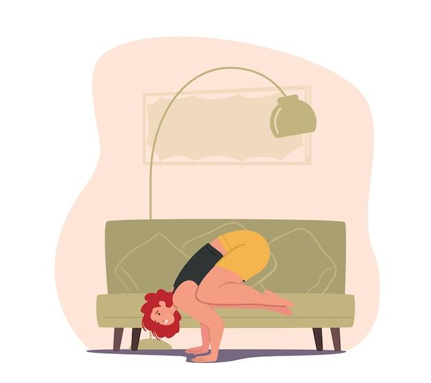 Sportlermädchen zu hause stehen auf händen in yoga asana