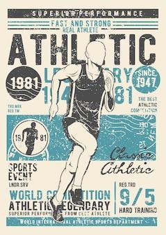 Sportlich, vintage illustration poster.