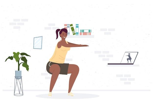 Sportliche afro-frau, die übung im hausillustrationsdesign übt