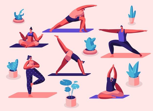 Sportliche aktivitäten für männliche und weibliche charaktere. menschen, die sport treiben, yoga-übungen, fitness, training in verschiedenen posen, stretching, gesunder lebensstil, freizeit. karikatur-flache vektor-illustration
