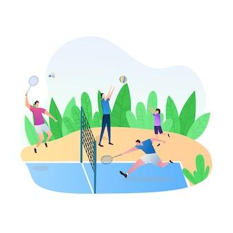 Sportliche aktivitäten mit menschen spielen badminton und volleyball