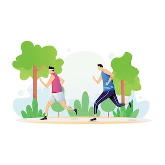 Sportliche aktivitäten mit zwei männern genießen den lauf im park in flachem design
