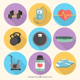 Sportliche elemente für fitness-packung