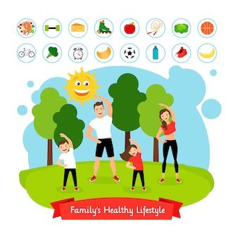 Sportliche familiensommeraktivität