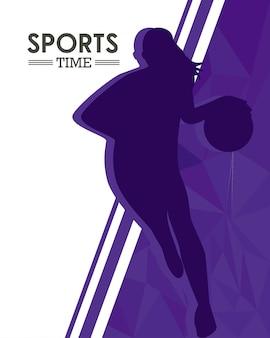 Sportliche frau, die basketball-sportschattenbild übt
