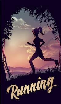 Sportliche frau, die im park im sonnenaufganglicht joggt. vektorillustration