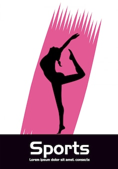 Sportliche frau, die tanzsportschattenbild-vektorillustrationsdesign praktiziert