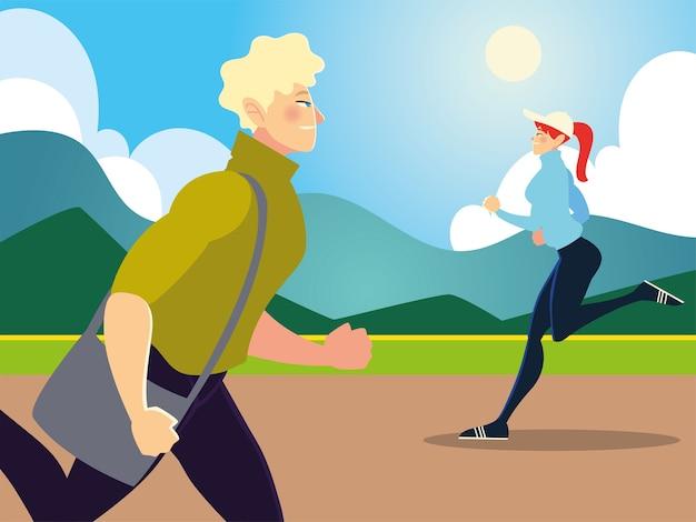 Sportliche frau und mann, die in der parkszenenillustration laufen