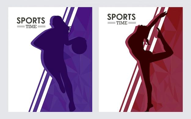 Sportliche frauen, die basketball üben und sportschattenbild tanzen