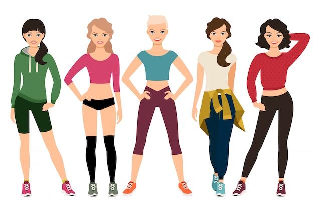 Sportliche frauenausstattung lokalisiert. junge frauen in der sportkleidung vector illustration