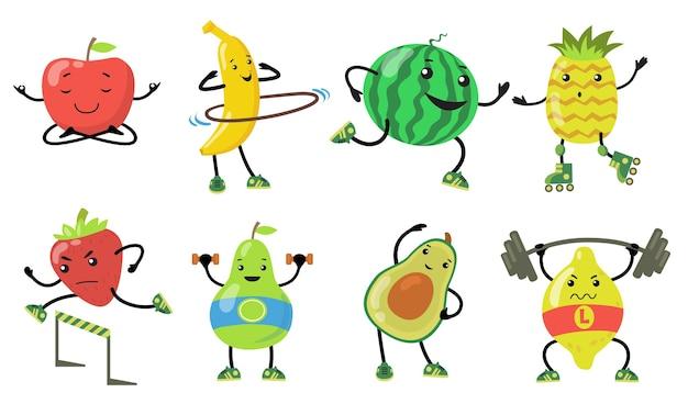 Sportliche früchte gesetzt. cartoon birne, apfel, avocado, erdbeere, die yoga macht, läuft und gewicht im fitnessstudio hebt. flache vektorillustrationen für gesundes essen, wellness, lebensstilkonzept