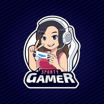 Sportliche gamer mädchen charakter esport logo vorlage