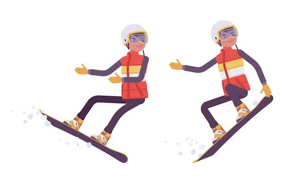 Sportlicher mann beim snowboarden