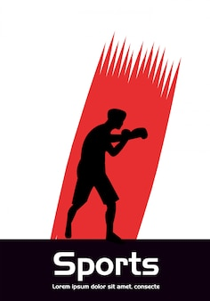 Sportlicher mann, der boxsportschattenbild übt
