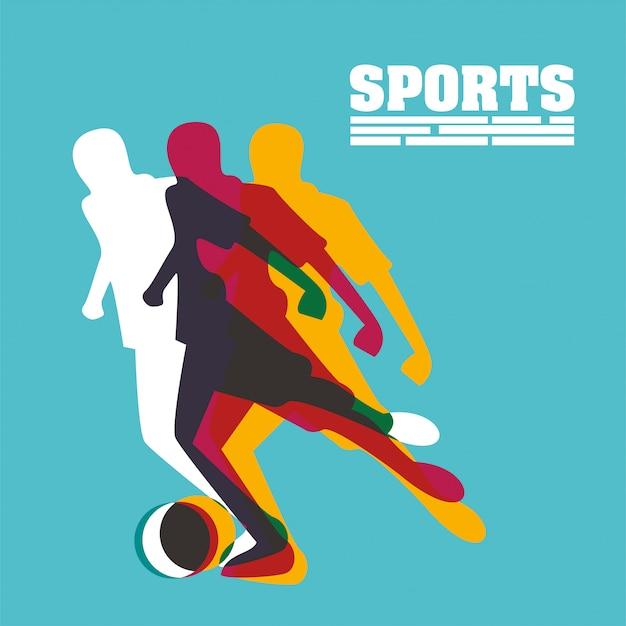 Sportlicher mann, der fußball-sportschattenbild übt
