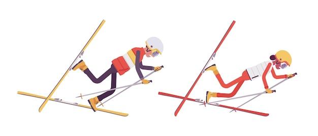 Sportlicher mann und frau fallen im skigebiet in schlechter technik ab