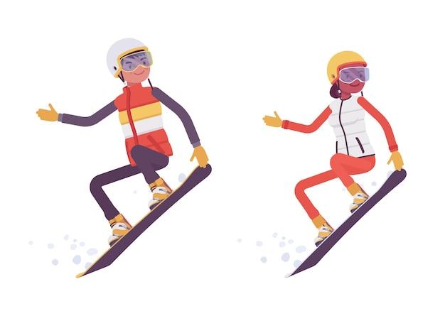 Sportlicher mann und frau snowboarden, genießen sie winter-outdoor-aktivitäten im skigebiet, aktivurlaub, wintertourismus und erholung