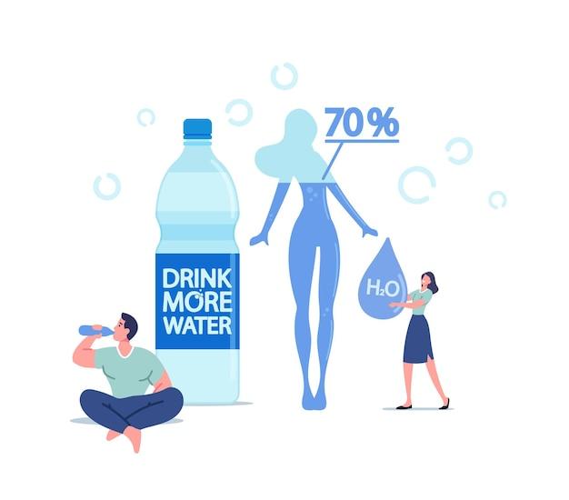 Sportlicher sportler-charakter, der reines wasser aus der flasche trinkt, die nach fitness-sportaktivitäten erfrischt. winzige frau mit riesigem h2o-tropfen, konzept für einen gesunden lebensstil. cartoon-menschen-vektor-illustration