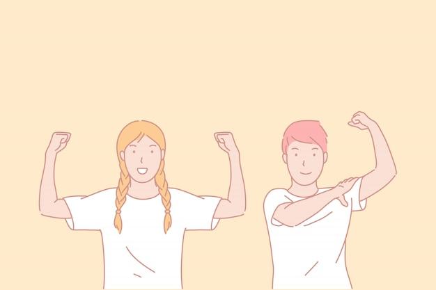 Sportliches leben, perfekte sportliche form, aktives lifestyle-konzept