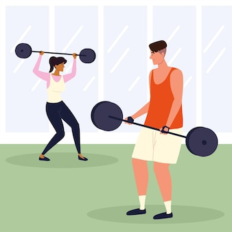 Sportliches paar macht übungen