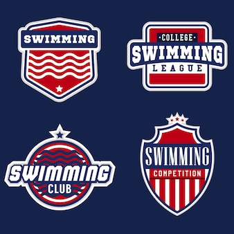 Sportlogos zum thema college-schwimmen für wettbewerbe, turniere, vereine, ligen. vektorillustration.