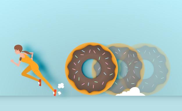 Sportmädchen durchgehen von der donutvektorillustration