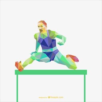 Sportman in einem hürdenrennen polygonalen vektor