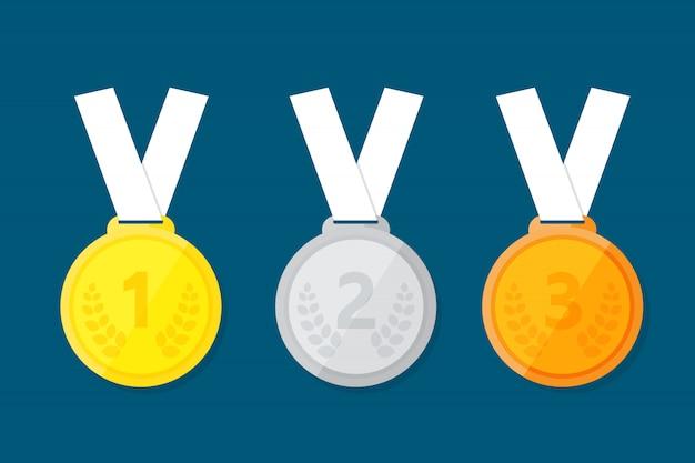 Sportmedaille für die ersten drei gewinner.