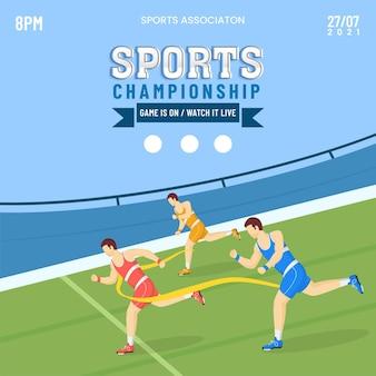 Sportmeisterschaft-poster-design mit gesichtslosem leichtathletik-laufband