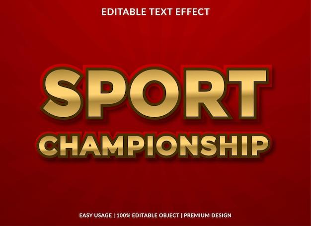 Sportmeisterschaftstexteffektvorlage im premium-stil für logo und marke