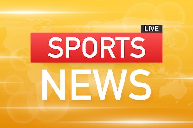 Sportnachrichten leben auf weltkartenhintergrund. vektor auf lagerabbildung
